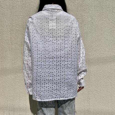 90s~ design lace shirt