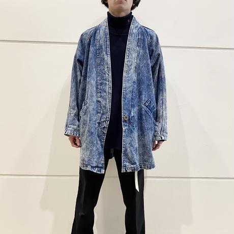 80s〜chemical denim no-collar denim jacket