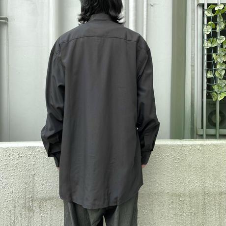 90s L/S rayon blend band-collar shirt