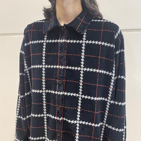 90s velours check shirt