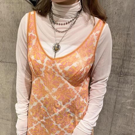 old flower patterned no sleeve dress
