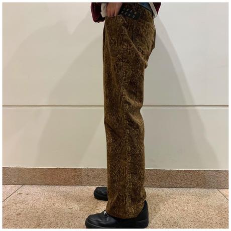 90s Python pattern corduroy pants