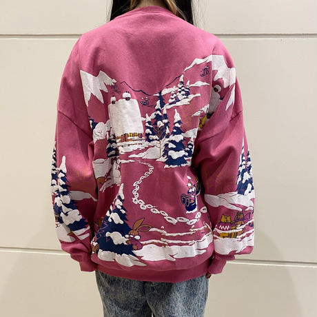 90s ski printed sweat shirt