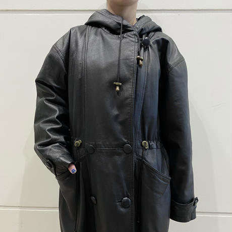 90s leather long coat