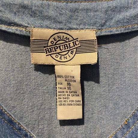 no-collar denim long one-piece