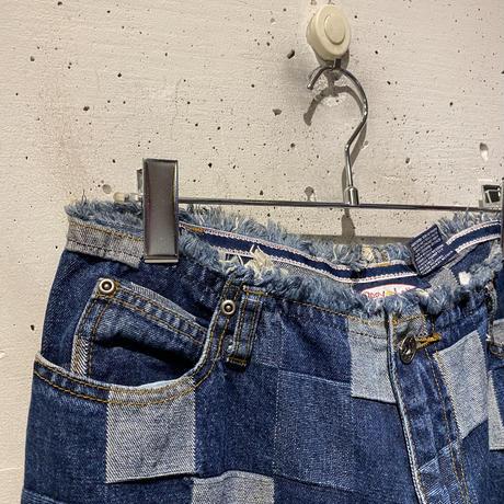 90s switching design flare denim pants