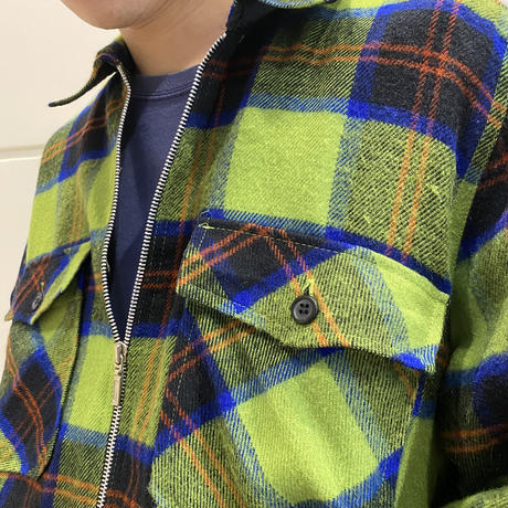 90s zip up checked shirt