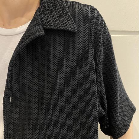 90s~ open collar mesh shirt