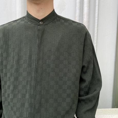 90s L/S rayon blend design shirt