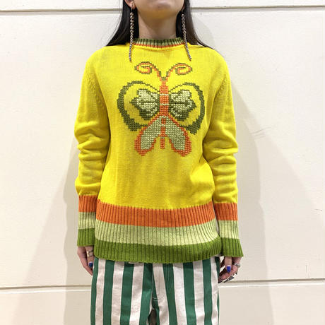 80s~ butterfly patterned knit sweater