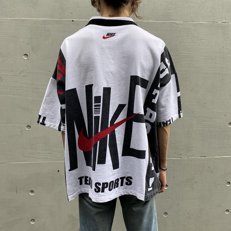 90s NIKE all pattern polo shirt