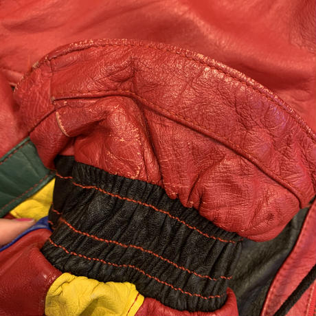 80s~ leather switching desgin jacket
