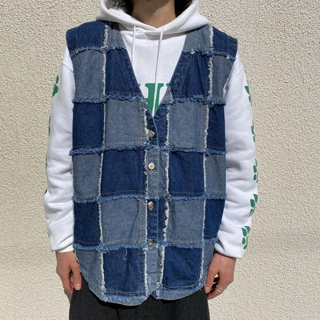 80s patchwork design denim vest