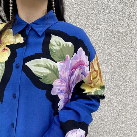 """80s~ """"TOGETHER!"""" flower patterned shirt"""