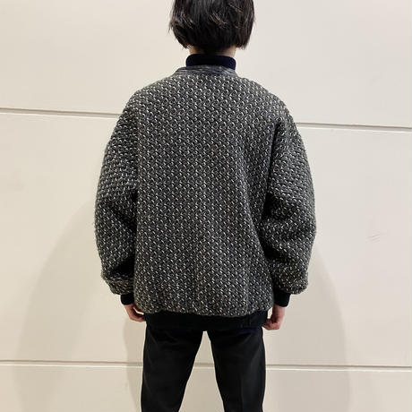 80s leather×knit cardigan