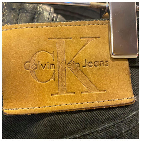 "90s ""Calvin Klein"" black denim pants"