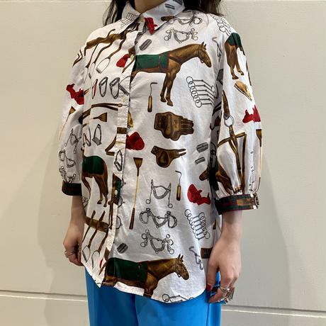 """LAUREN"" all patterned S/S shirt"