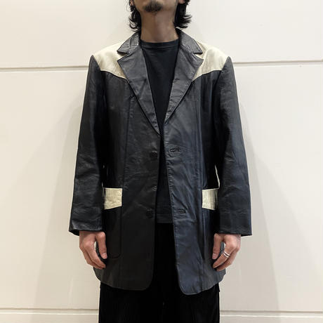 90s western design leather tailored jacket