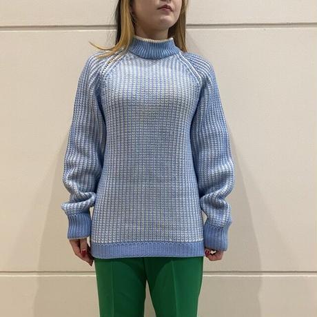 striped mock neck knit sweater