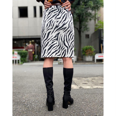 fake fur zebra pattern mini skirt