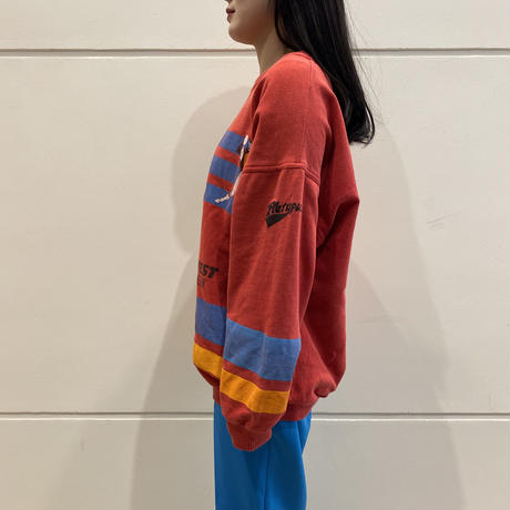 90s~ design printed sweat shirt