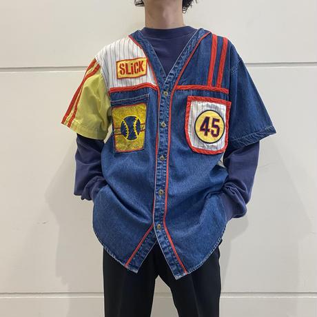 """90s〜""""SLiCK"""" switching design baseball shirt"""