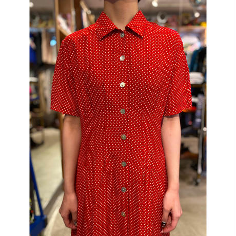 dots pattern long shirt one-piece
