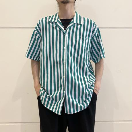 90s striped open collar shirt