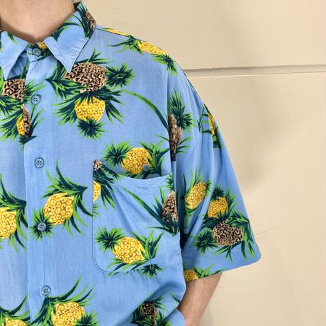 90s pineapple pattern s/s rayon shirt