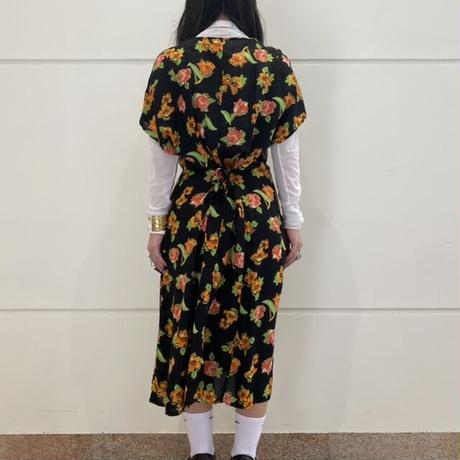 80s~ flower patterned long one-piece