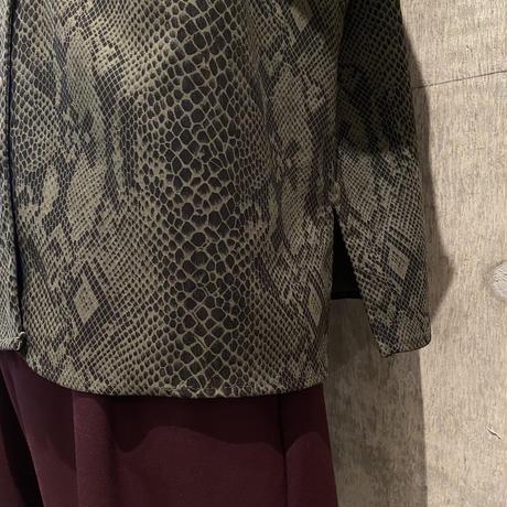 90s python patterned open collar shirt