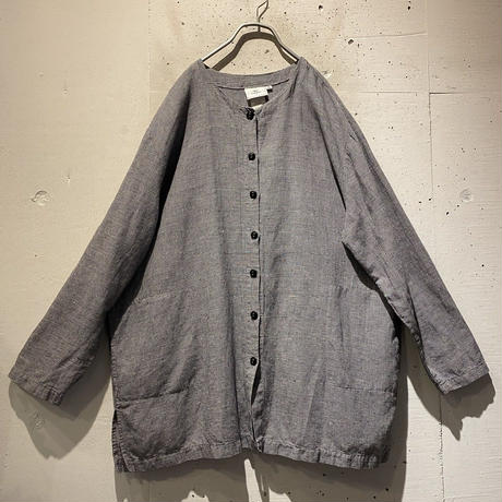 90s no-collar linen blend shirt