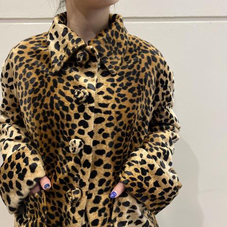 90s~ leopard pattern short length fake fur jacket