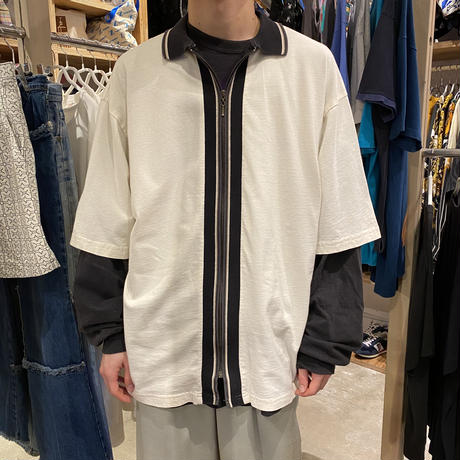 90s~ zip up polo shirt
