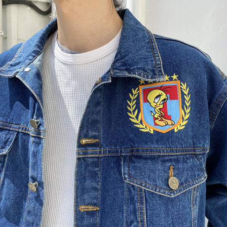"00s "" Tweety "" leather embroidery denim jacket"