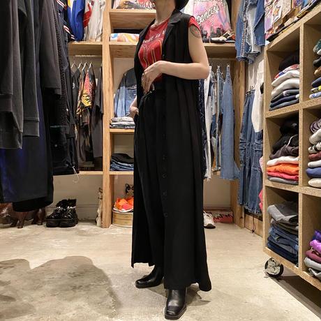 no-sleeve long shirt one-piece