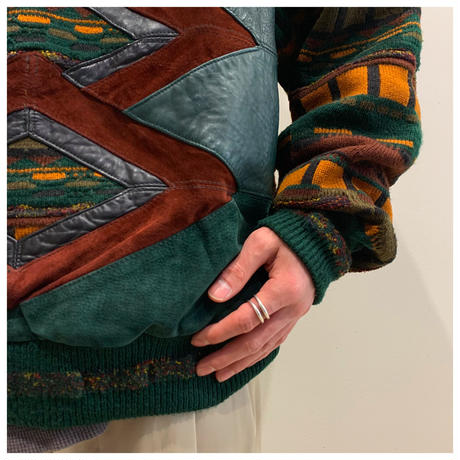 80s leather swithing design knit sweater