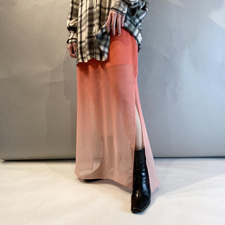 00s see-through long slit skirt