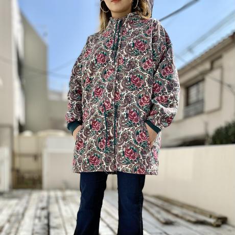 80s flower patterned sweat coat