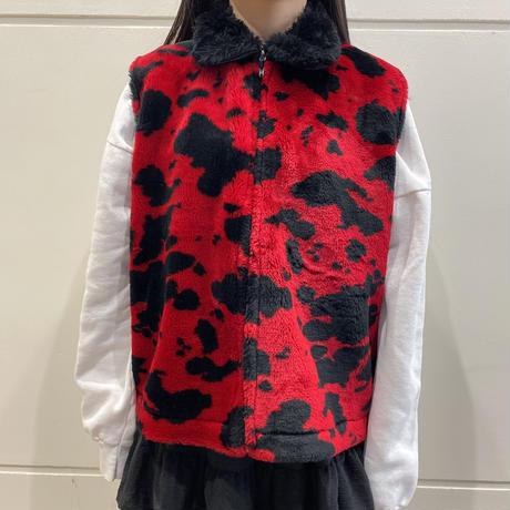 80s~ cow patterned fake fur vest