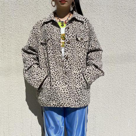 90s leopard patterned trucker jacket