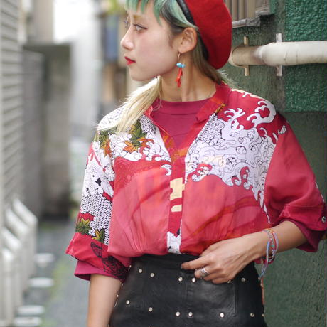 Japanese pattern see-through blouse