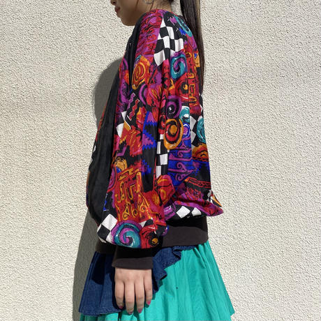 80s~ dolman sleeve silk pullover