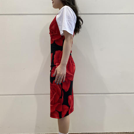 90s~ rose printed camisole one-piece