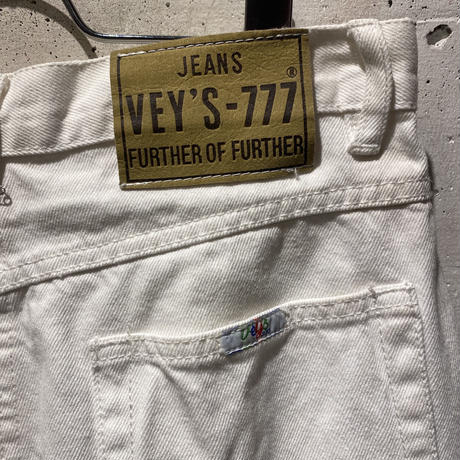 90s white flare denim pants