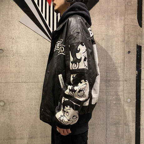 "90s ""BETTY BOOP"" leather design jacket"