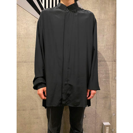 oversized band collar silk shirt