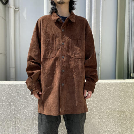old suede leather L/S shirt
