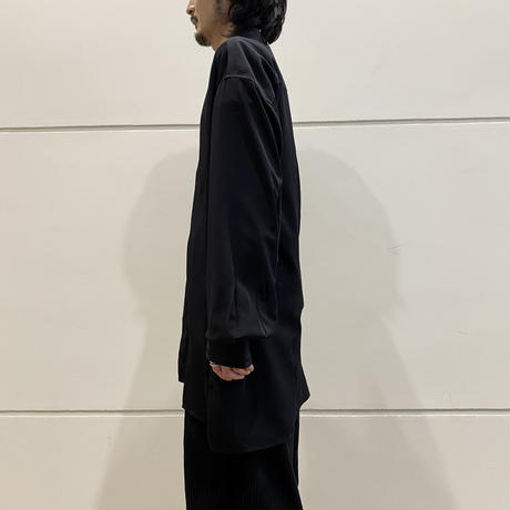 oversized L/S band collar shirt