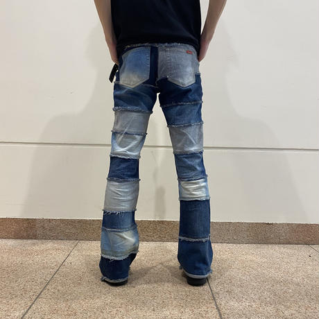 90 switching design flare denim pants